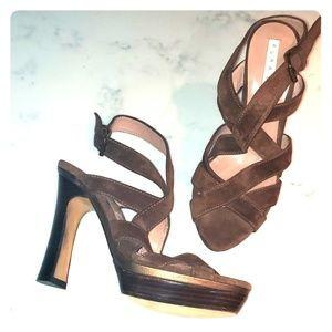 Strappy Suede Chunky Platform Heels - Pura Lopez